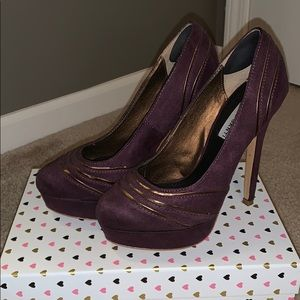 Purple with gold accent heels